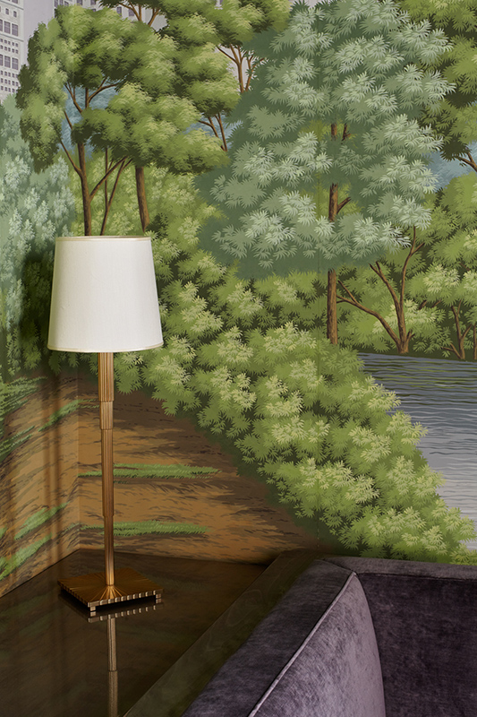 Detail of a design lamp in a corner with Misha wallpaper