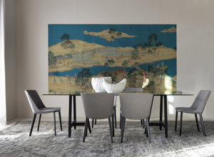 hand painting chinese ornament on dining room with blue background for driade catalogue