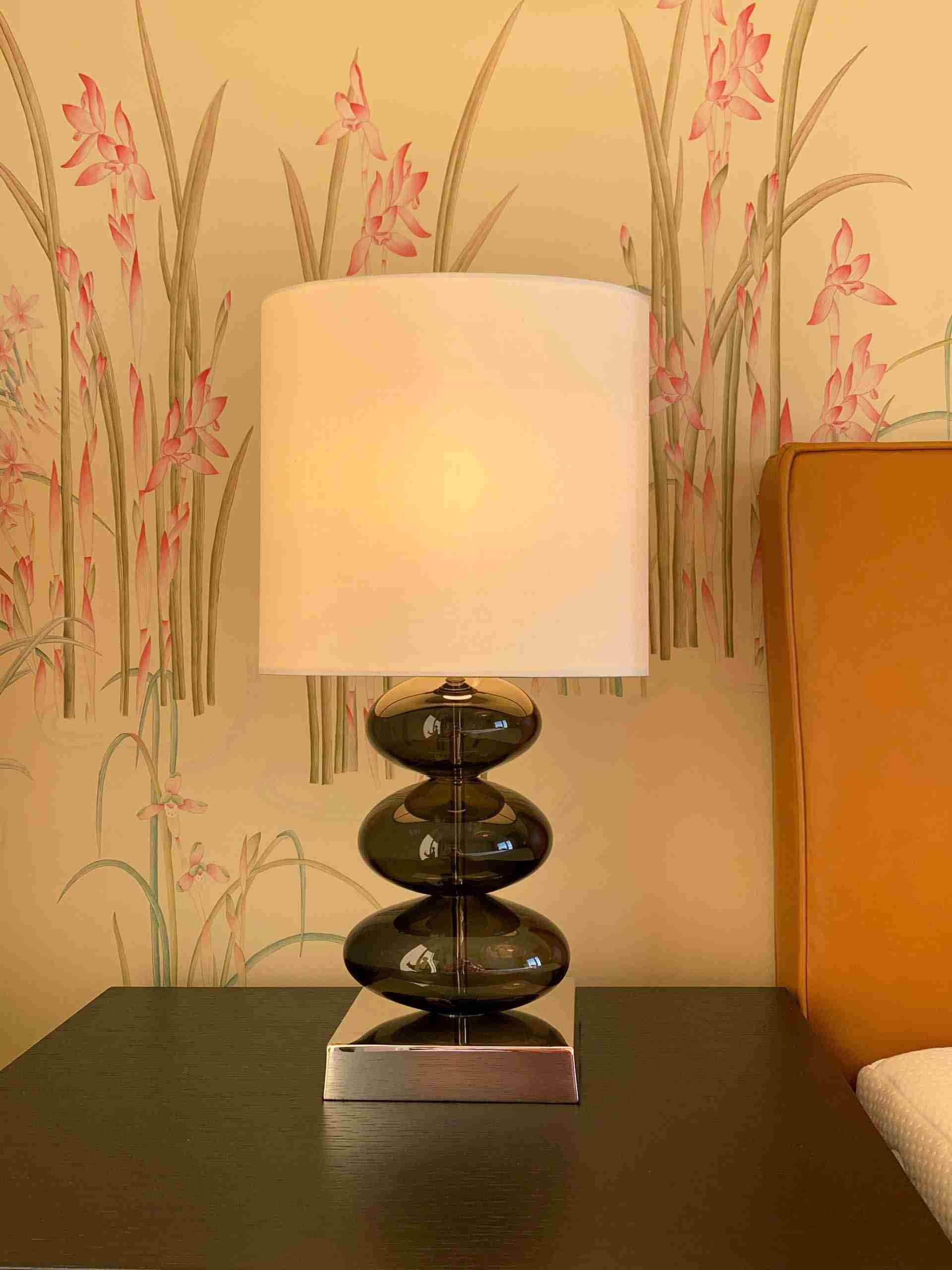 handpainted wild orchid on silk wallpaper for bedroom