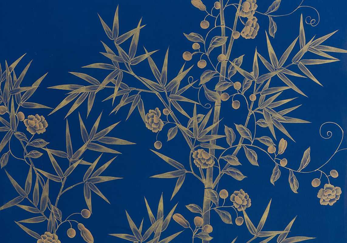 beautiful details gold bamboo garden on blue china silk wallpaper