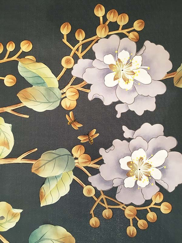 beautiful details of myrtle flowers and bee silk handpainted wallpaper