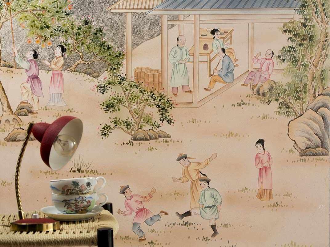 metallic background wallpaper with chinese village design pattern
