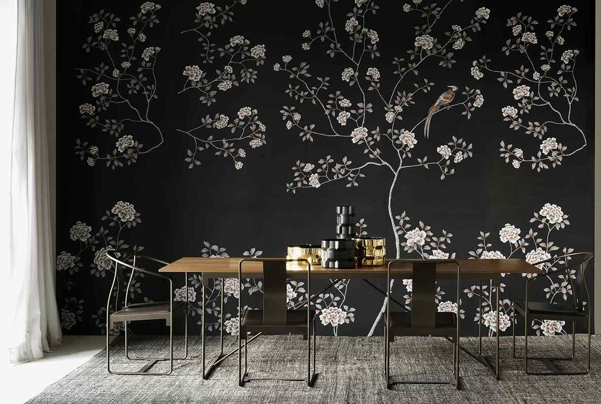 peonies flower silk wallcoverings for dining room driade catalogue with black background