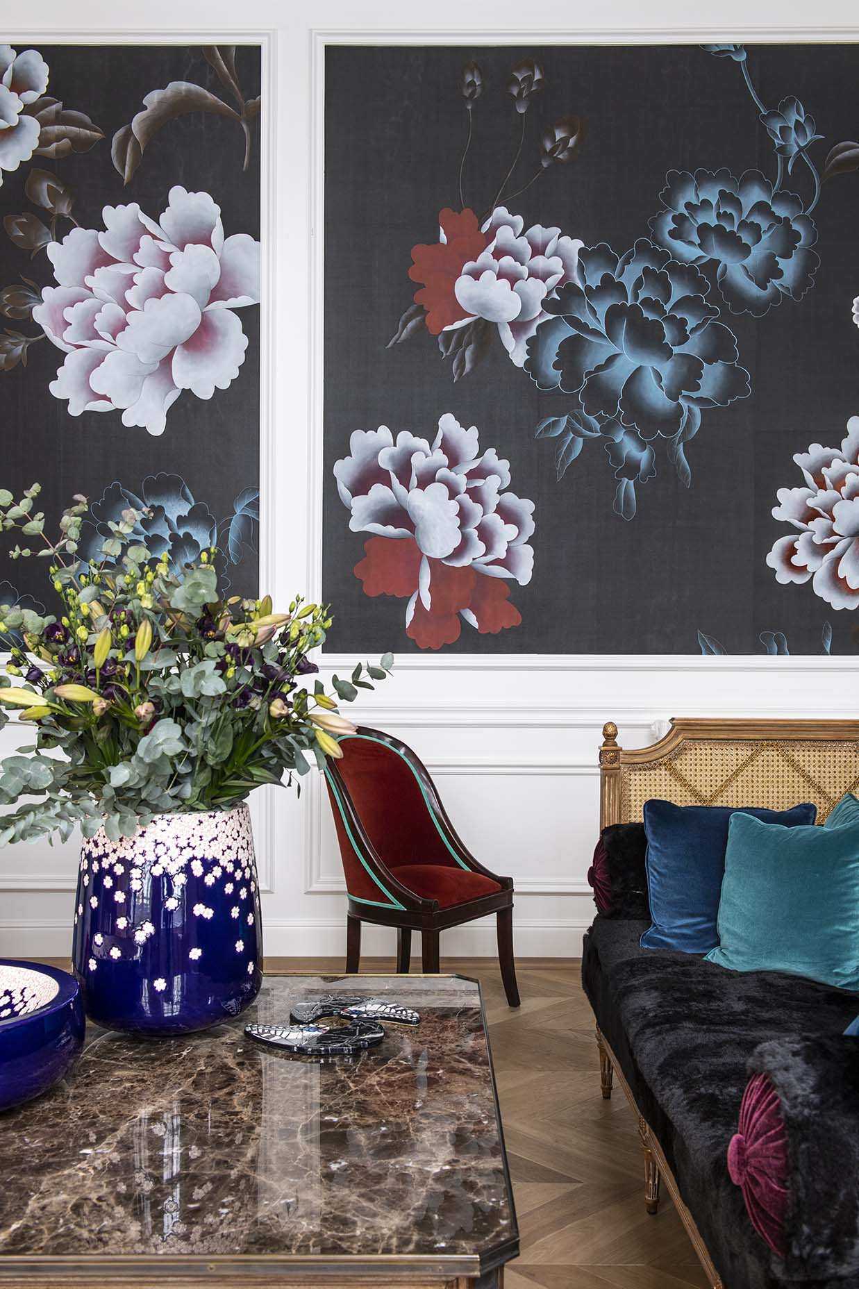 interior with chinoiserie floating peonies design on pure silk