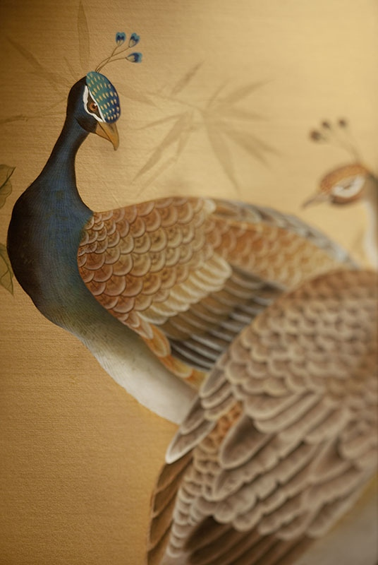 Beautiful details of hand painted peacocks wallpaper on silk for lobby hotel