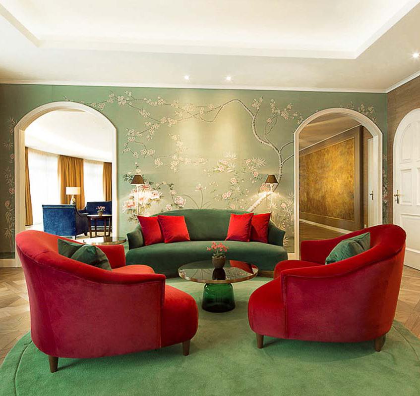 custom chinoiserie silk wallapaper for lounge hotel kempinski