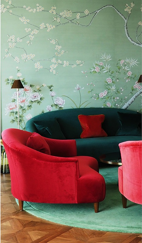 tosca green background silk wallcoverings for living room with custom orieantal flower design