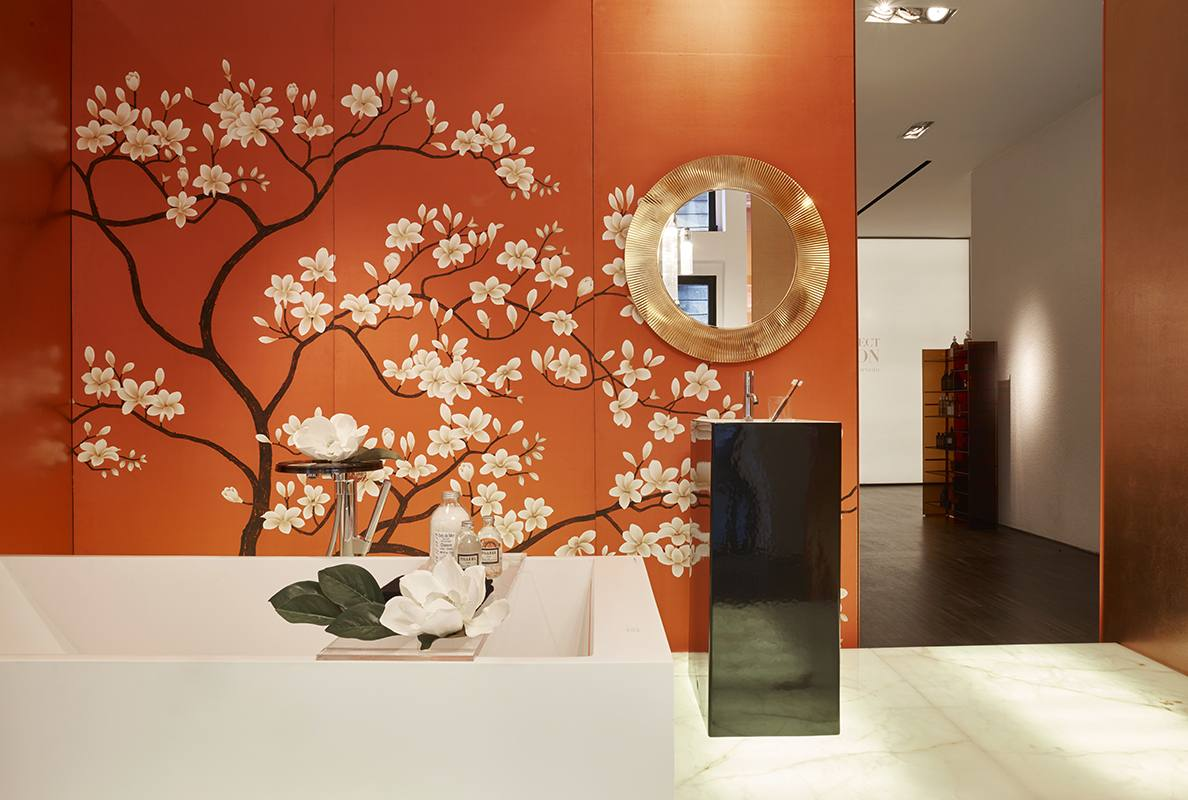 Kartell by Laufen project Japanese style wallcoverings tree and flower suitable for bathroom
