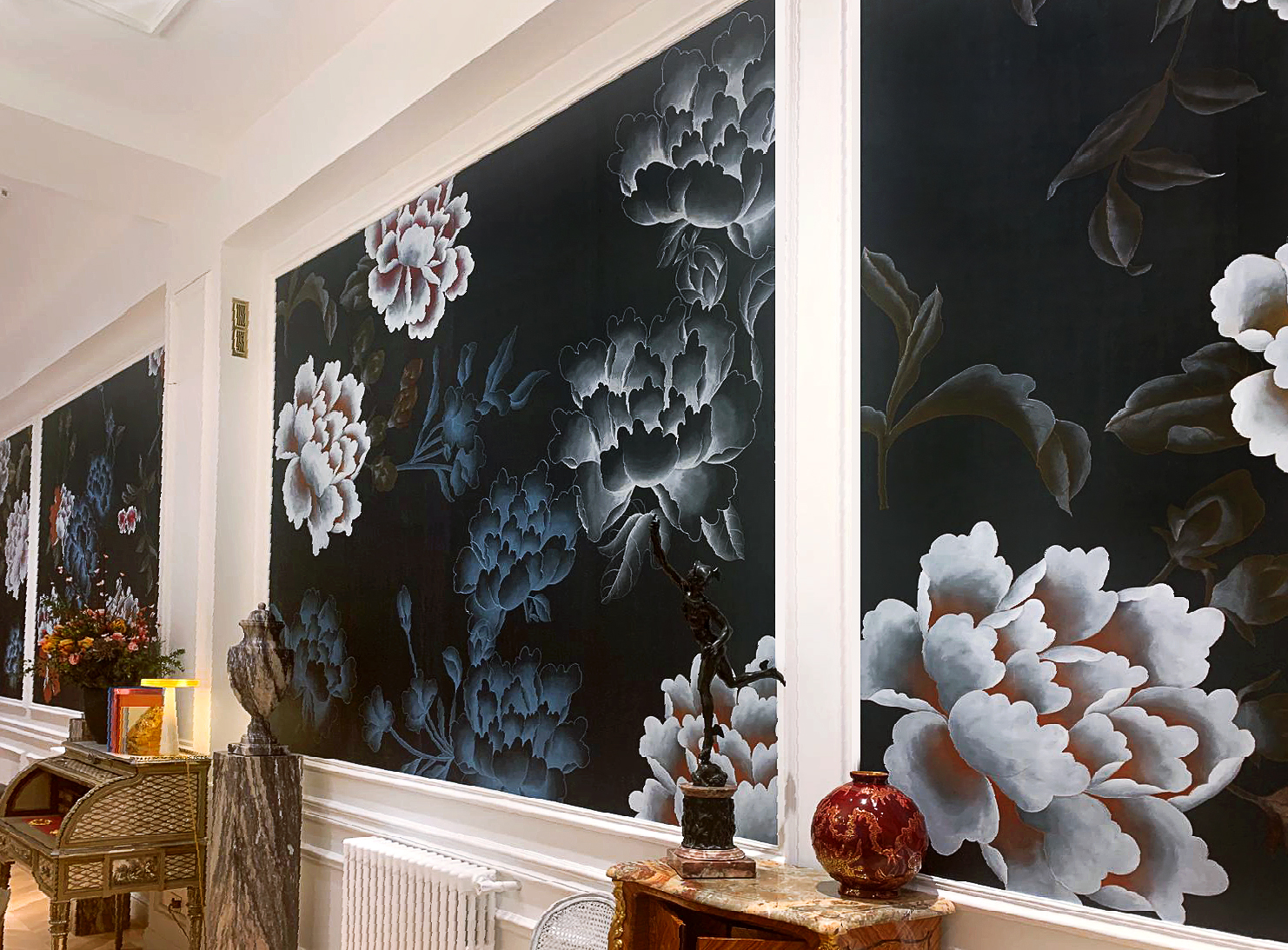 floating peonies with embroidery details for paris deco off