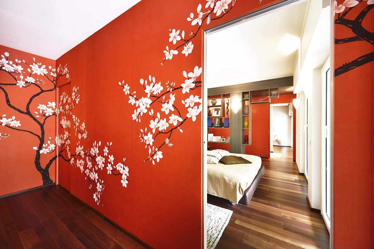 beautiful japanese tree with flower wallcoverings for bedroom