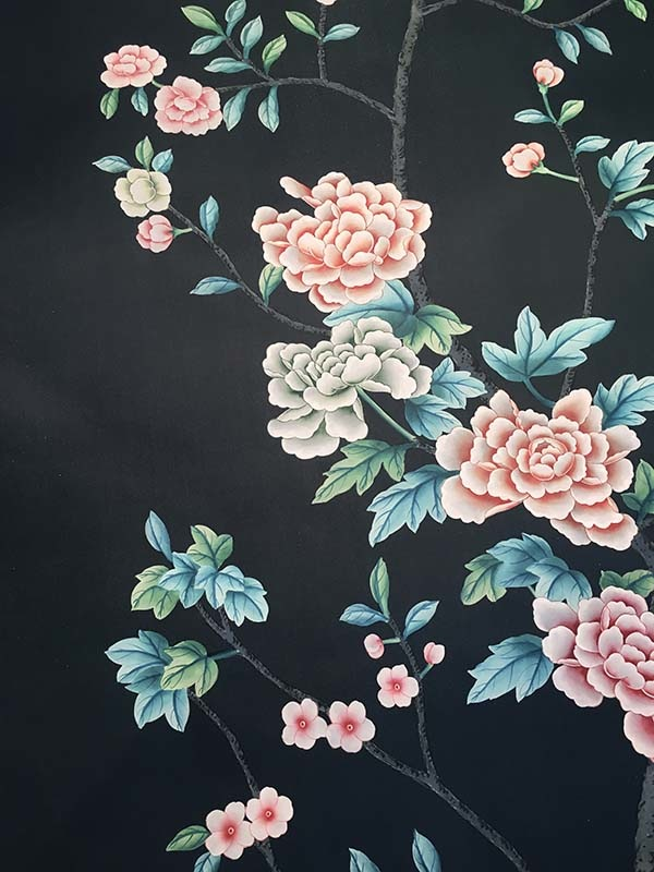 chinoiserie silk wallcoverings with peony blossoms design on pure silk