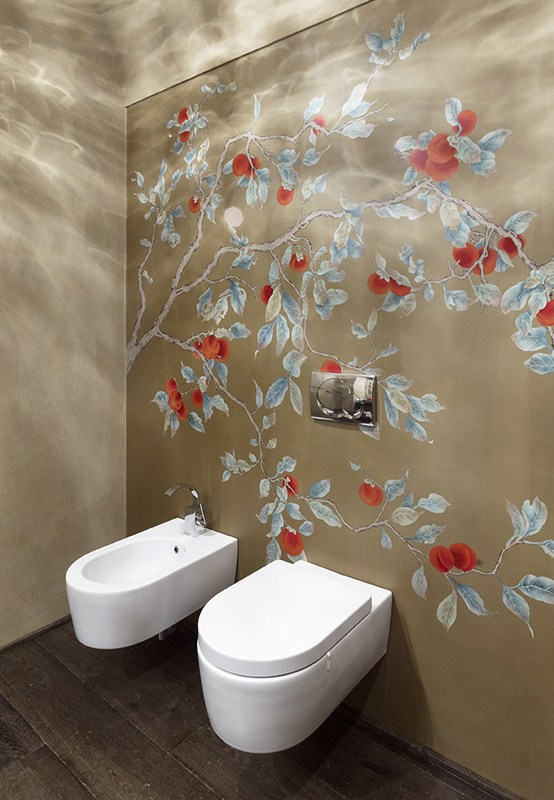 beautiful bathroom with red kaki wallcoverings suitable for hotel and villa