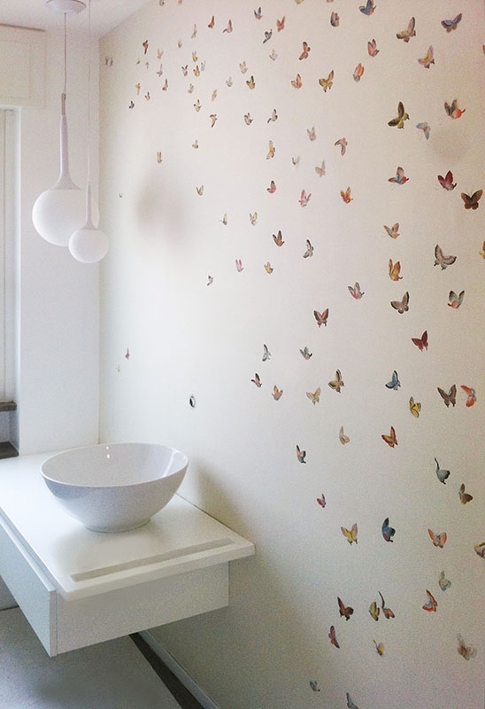white background butterflies silk wallcoverings for powder room with water resistant treatment