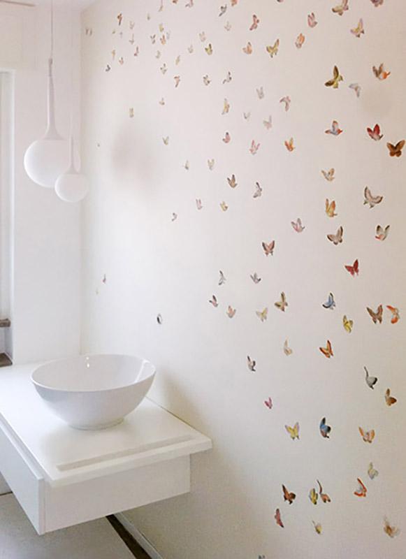 tessuto da parati con disegno Butterflies su seta pura Ivory con trattamento impermeabilizzante