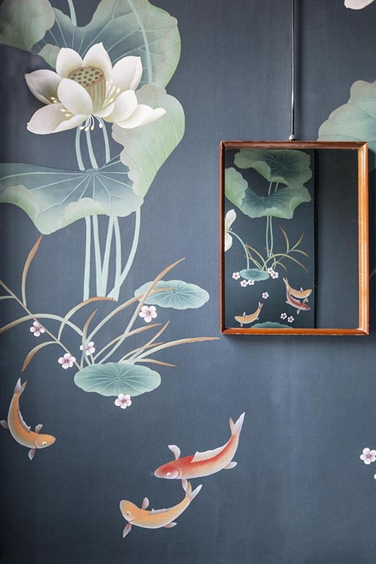 details of hand painted chinoiseries wallcoverings for bathroom