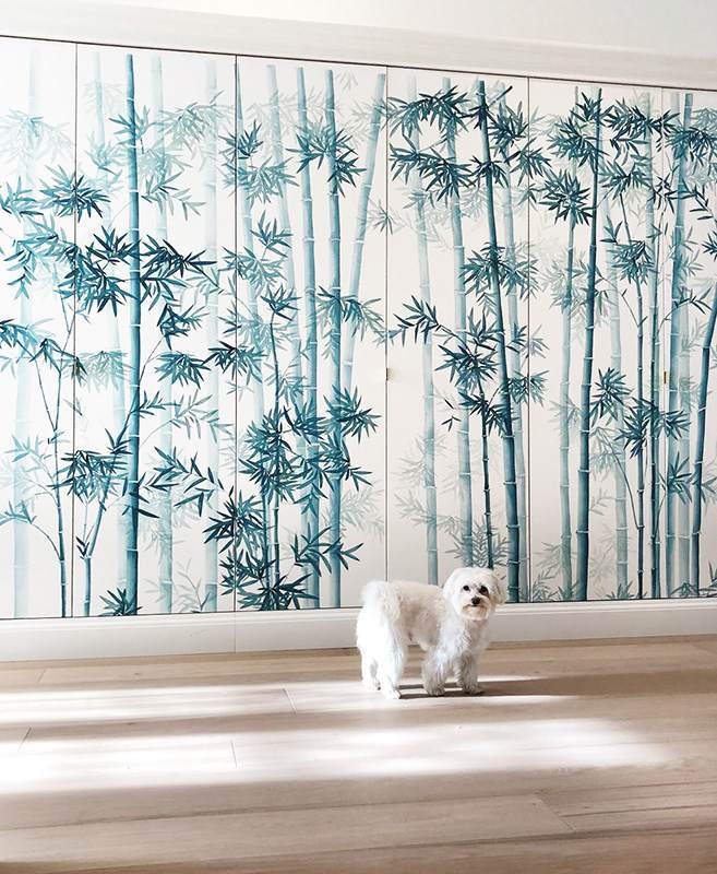 japanese bamboo style wallcoverings on silk for bedroom and wardrobe