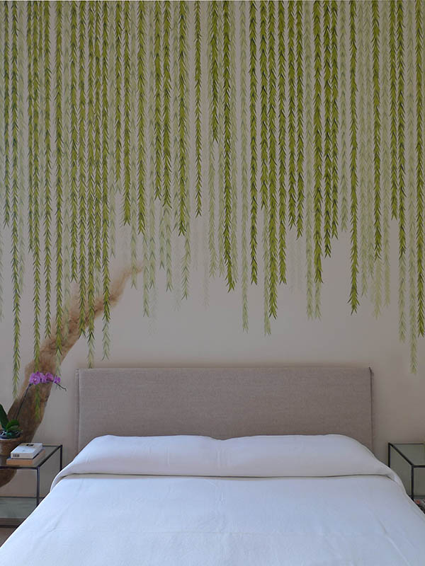 Camera da letto rivestita con seta pura modello Willow per camera da letto