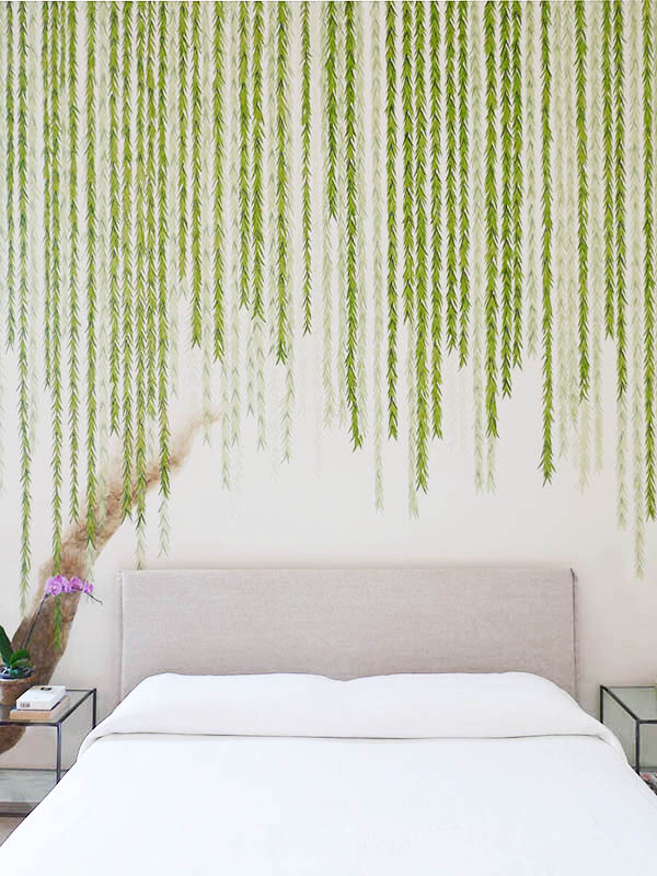 bedroom wallcoverings with willow tree pattern on white background