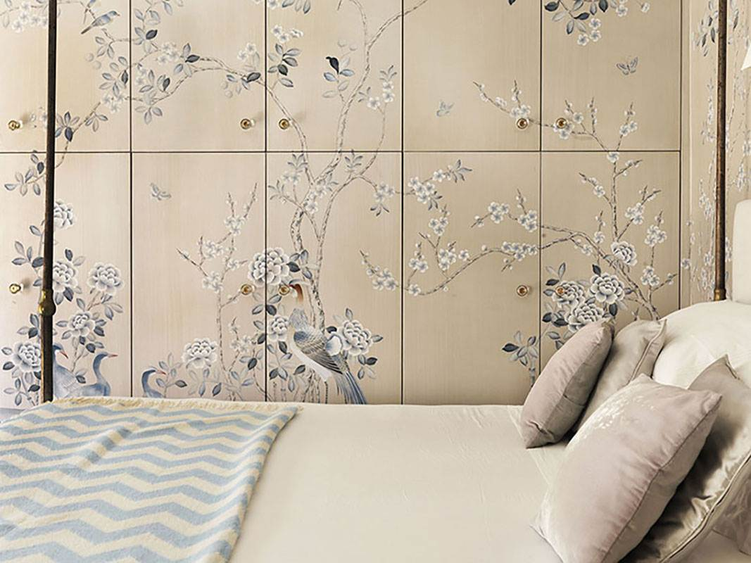 custom design wallcoverings with blue bird and blue flowers on silk and cream background