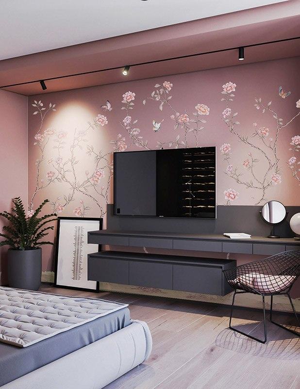 Pink background imperial flower silk wallpaper for bedroom