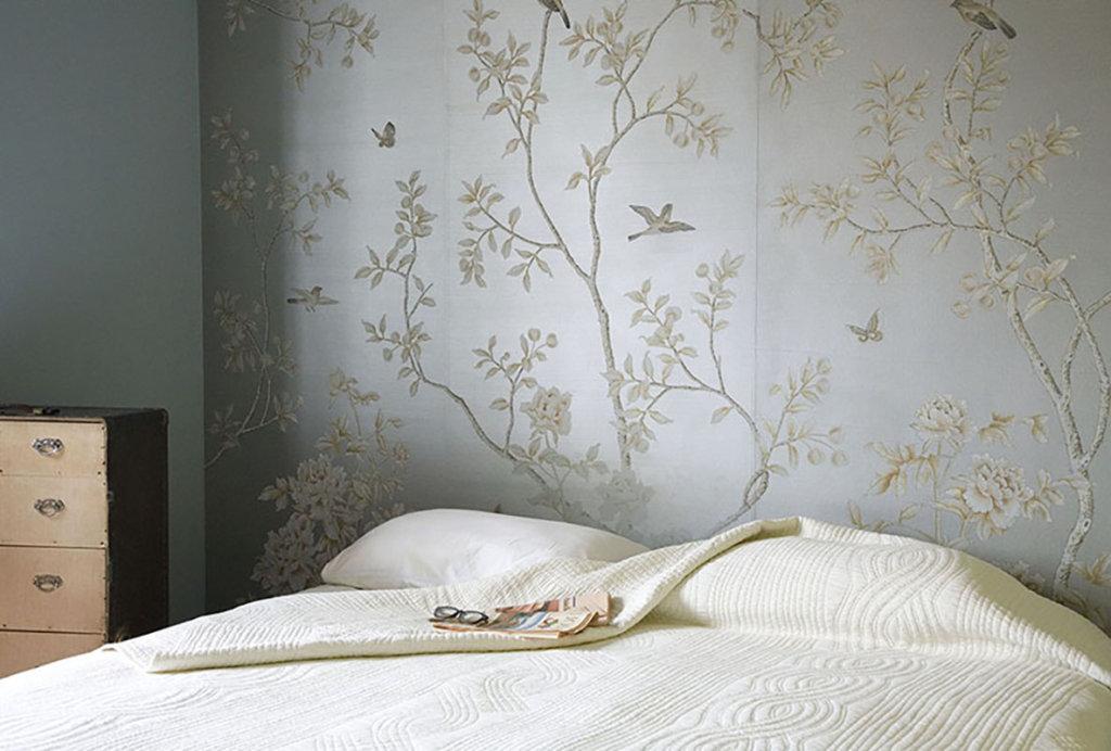 tessuto da parati con disegno standard Chinese winter Garden su seta spazzolata con polvere argento per appartamento privato