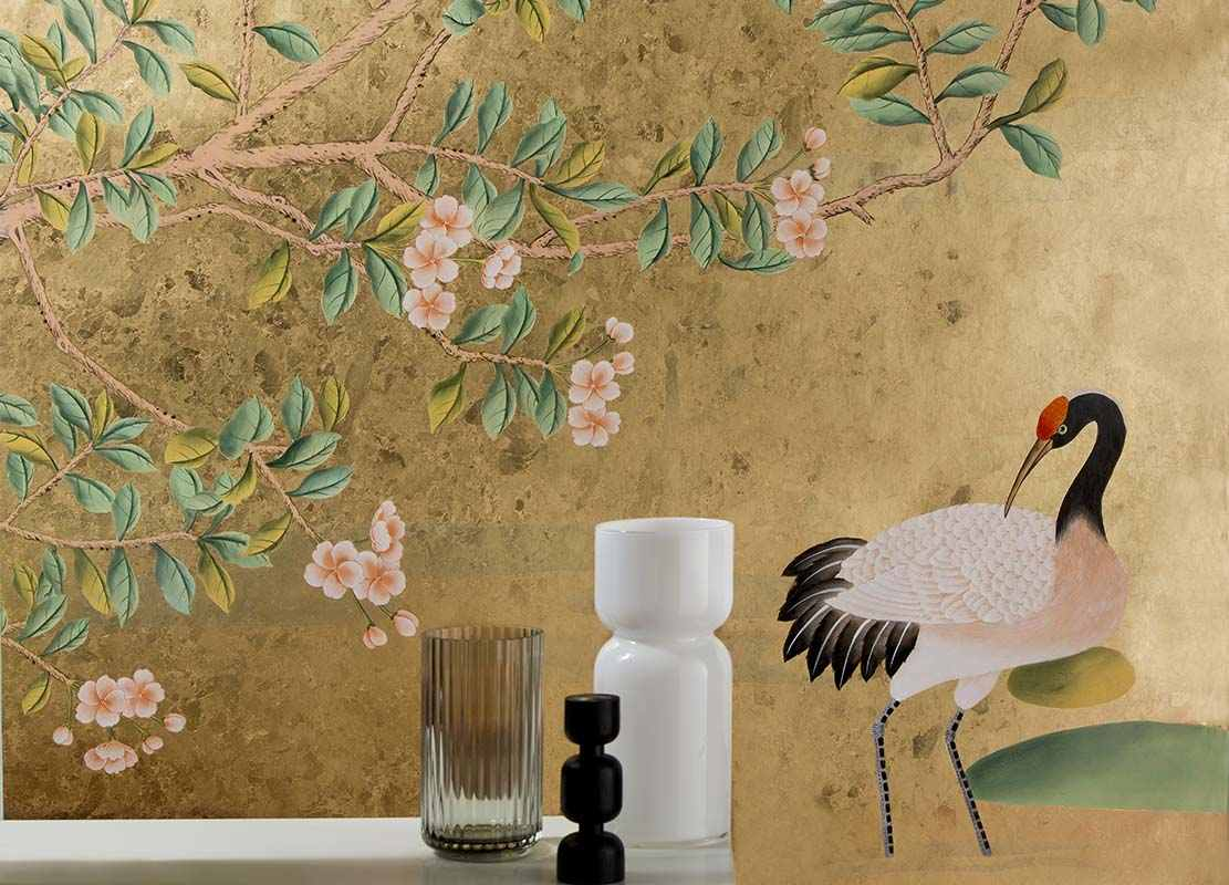 Beautiful creanes wallpaper on metallic background