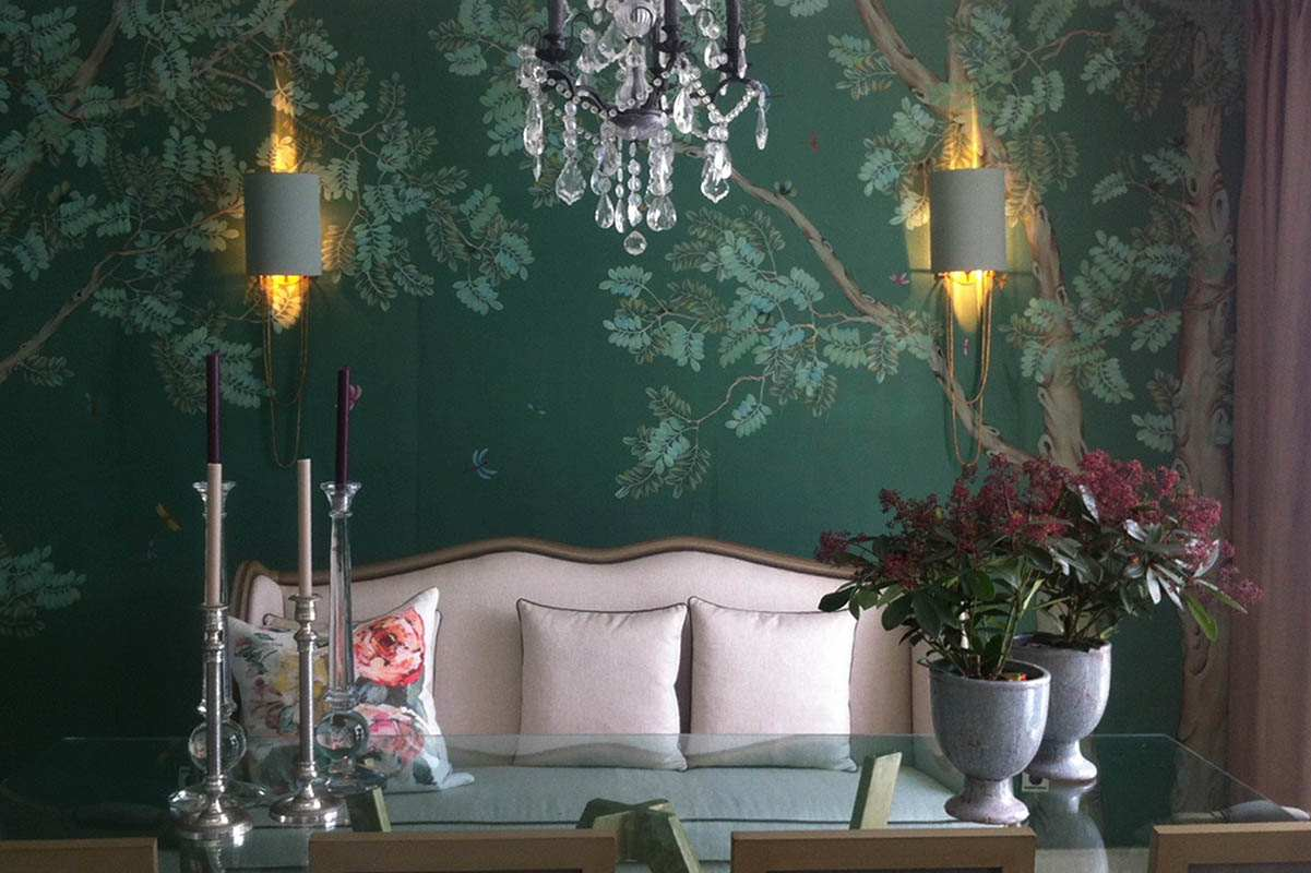 beautiful background for dining room with pagoda tree motif on silk