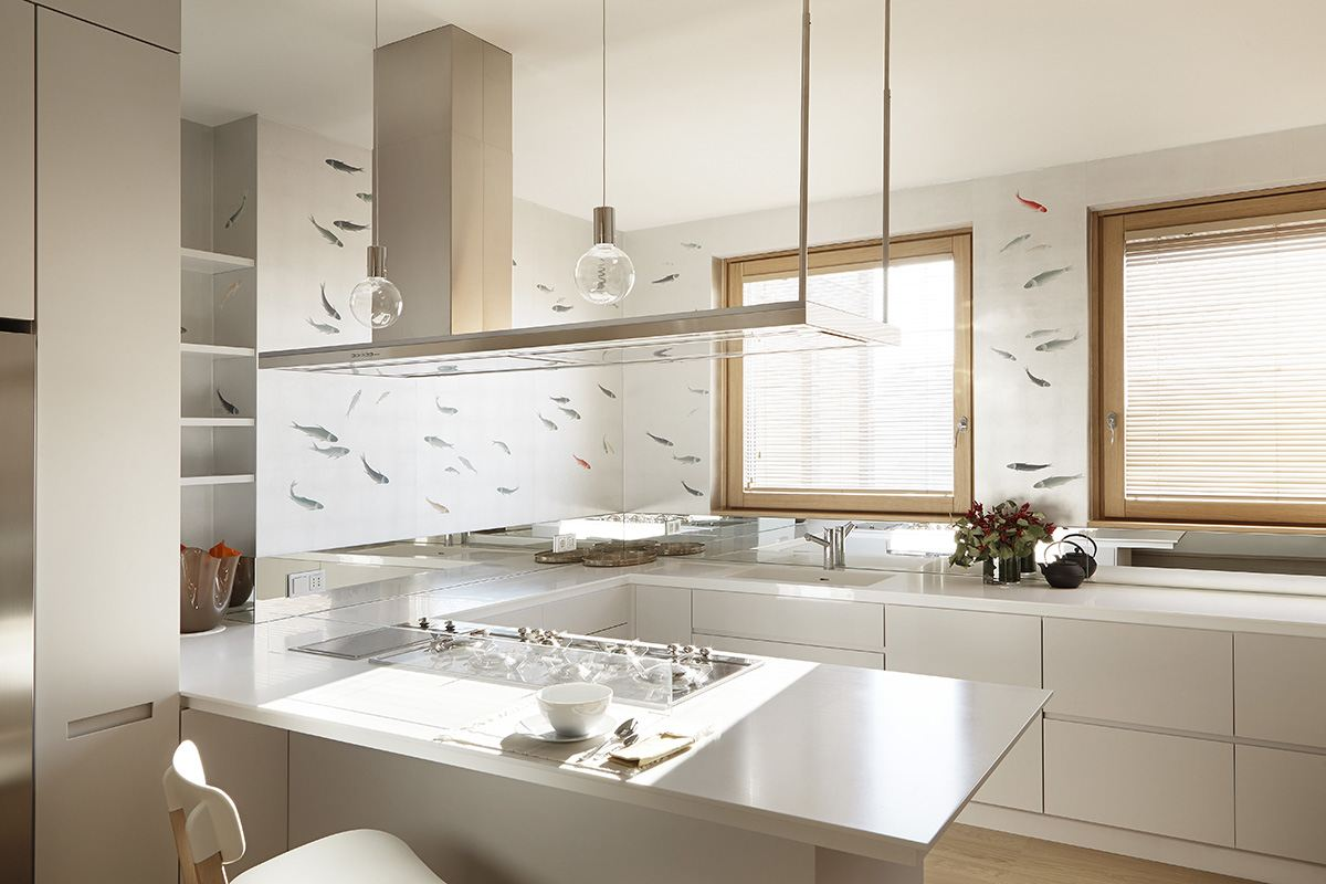 silver background fish wallcoverings of metallic for kicthen with red fish