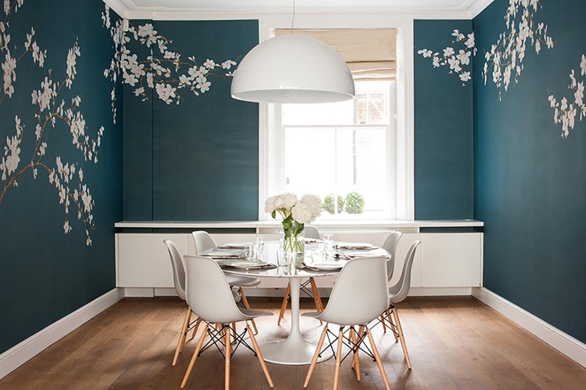 wallcoverings for dinning room with white flower japanese nuance
