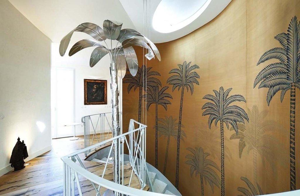 Tessuto di seta dupion colore oro dipinta con disegno Palm con colori personalizzati