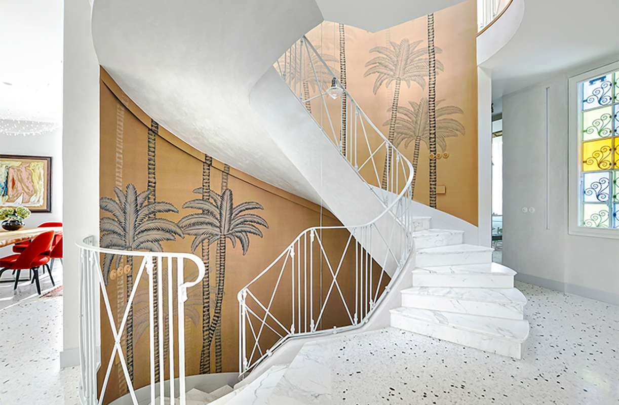 beautiful hand painted palm wallcoverings on Dupion silk, for living room and stairs