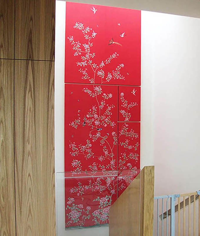 hand painted silk wallcovering chinoi serie on frame with red background