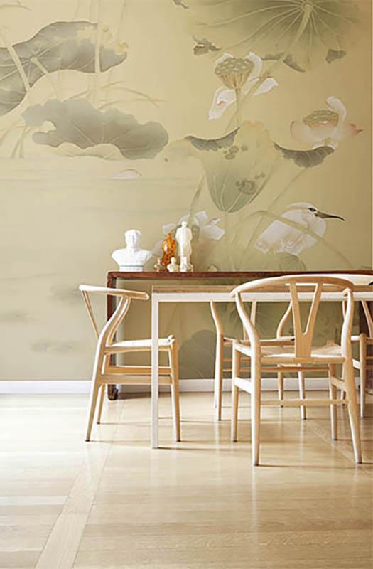 lotus blossom and white heron bird wallcoverings on silk wallpaper oriental subject