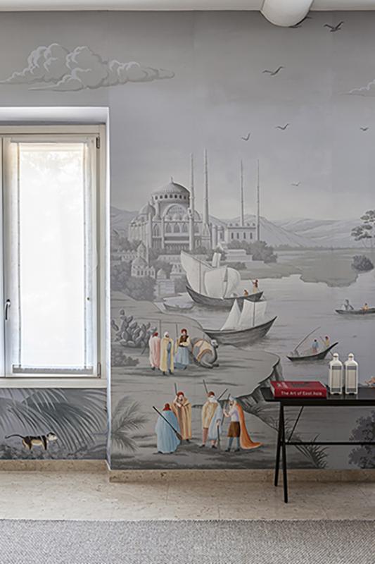 Allestimento in casa privata del disegno panoramico la via della seta