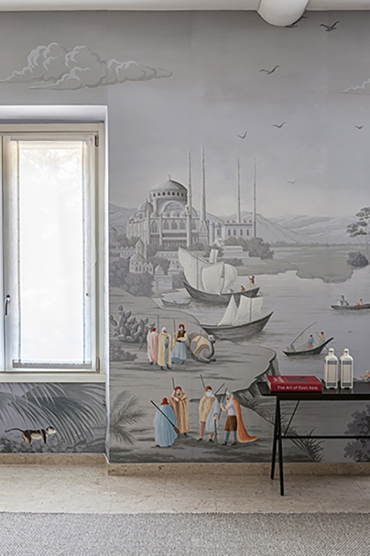 The famous silk route wallcoverings part of Grand Tour inspiration for living room