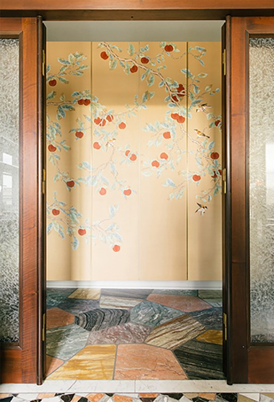 ripe red kaki tree with small bird on silk wallcovering for hall and entrance