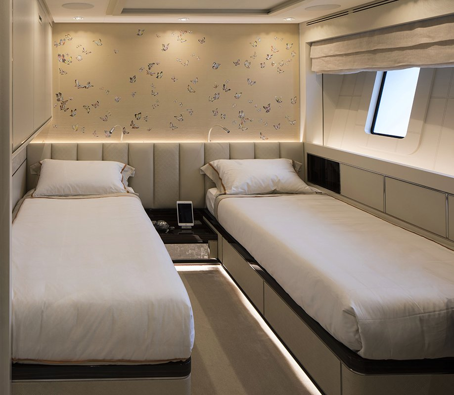 sanlorenzo yacht two cabin room installed with butterflies silk wallcoverings