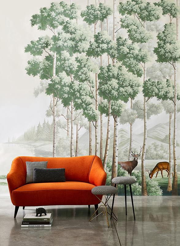 Amber route wallcoverings photograph by Davide Lovatti depict a picture of natural element and animal such a deer