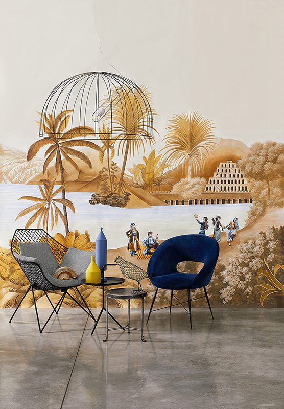 The famous incense route hand painted silk wallcoverings for living room photo by davide lovatti