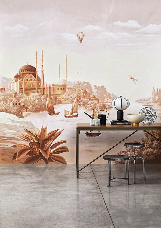 Photo davide lovatti one of famous grand tour expedition the silk route wallpaper for living room with sepia colour