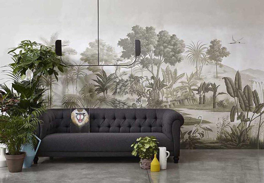 tessuto da parati con animali della savana dipinti con tonalità monocromatiche