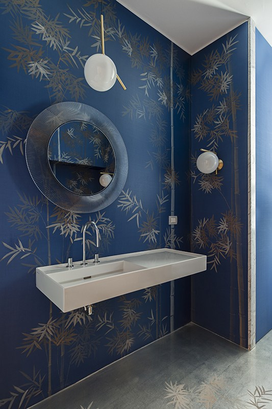 beautiful powder room with japanese bamboo forrest silk wallcoverings