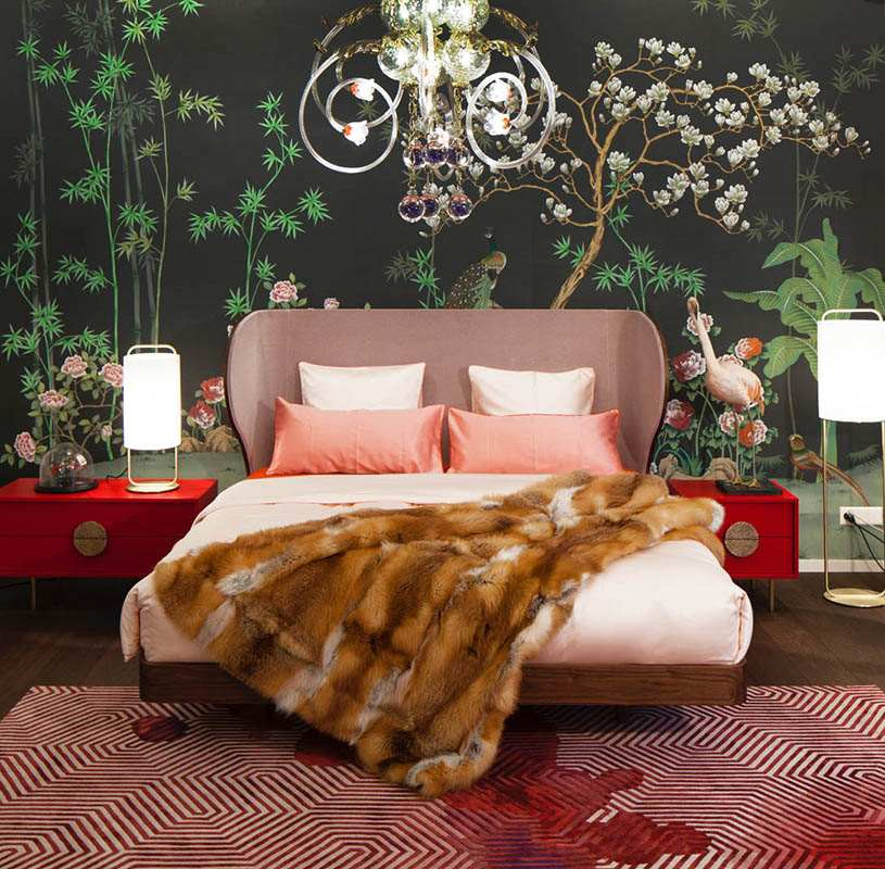 Oriental design wallcoverings with custom design suitable for bedroom or living room