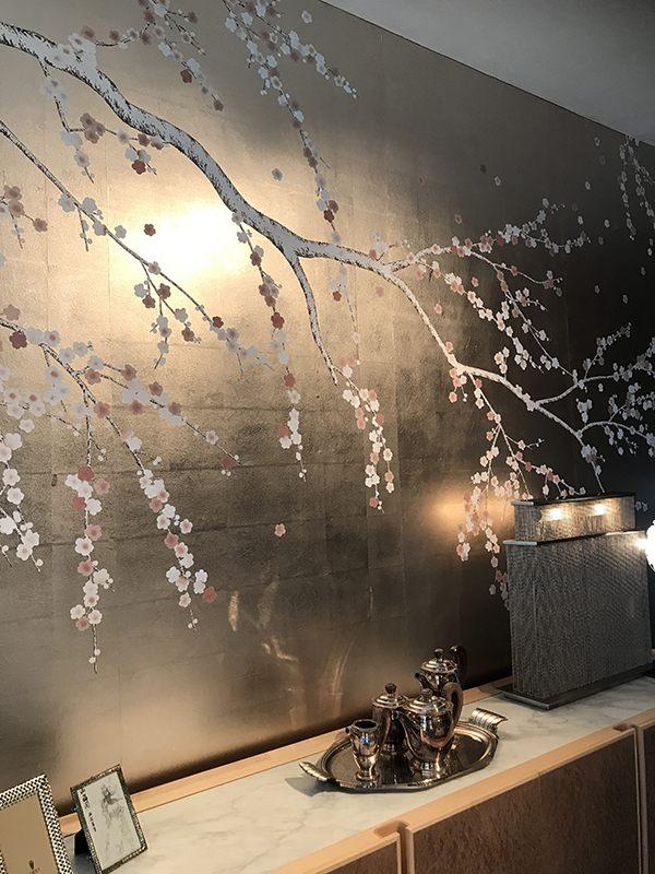details of metallic wallpaper with japanese design plum flower