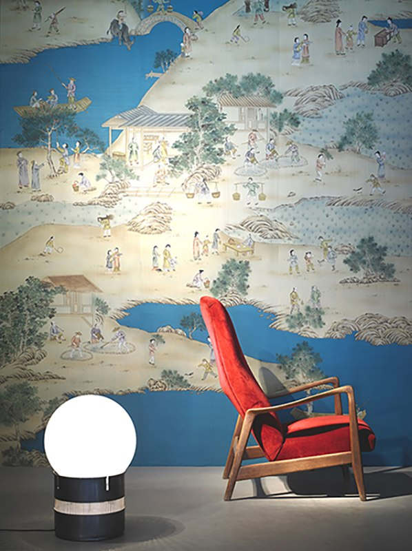 Chinese village wallcoverings on blue background silk for milan design week 2016