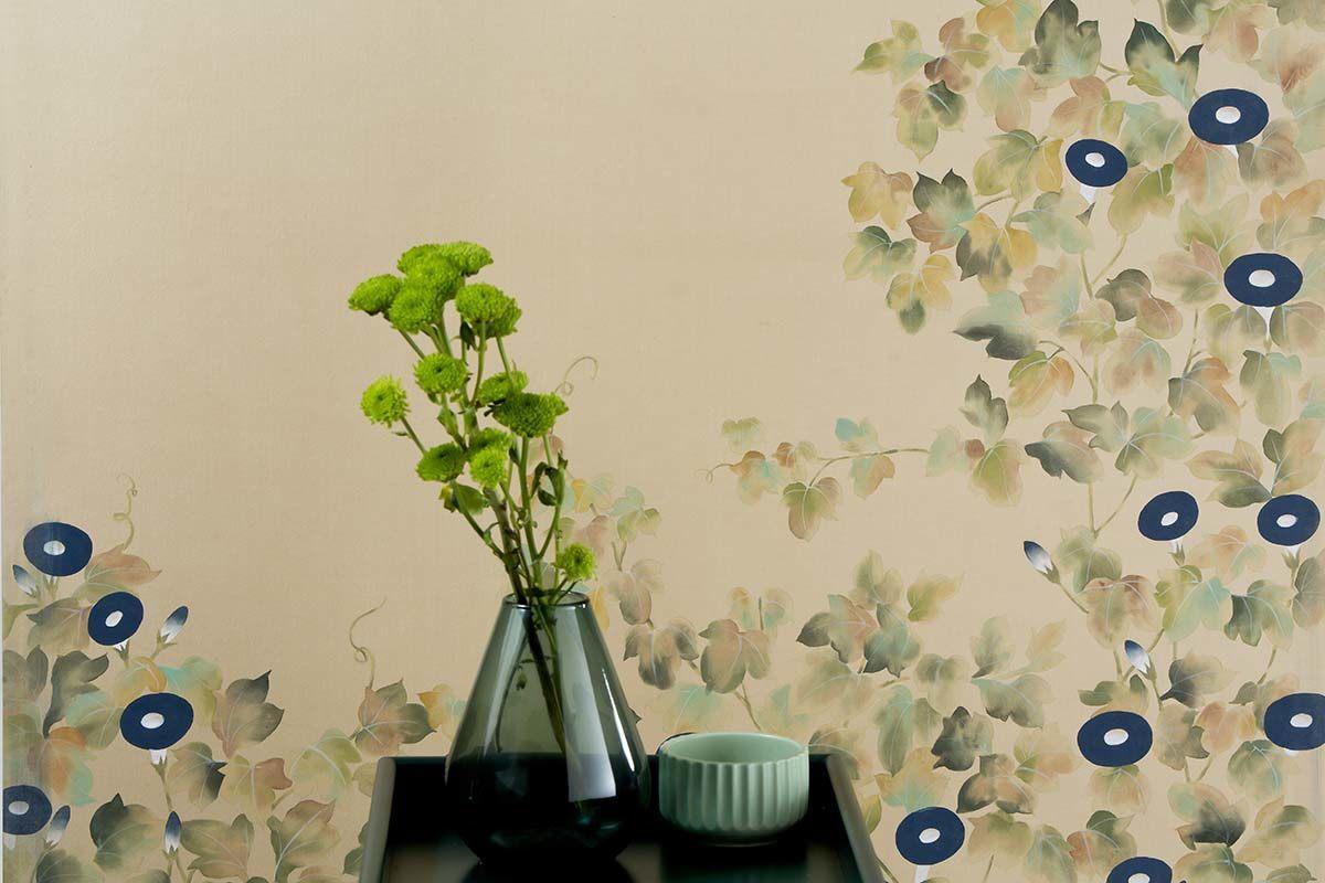 morning glory climbing plant harmony silk wallcoverings for bedroom