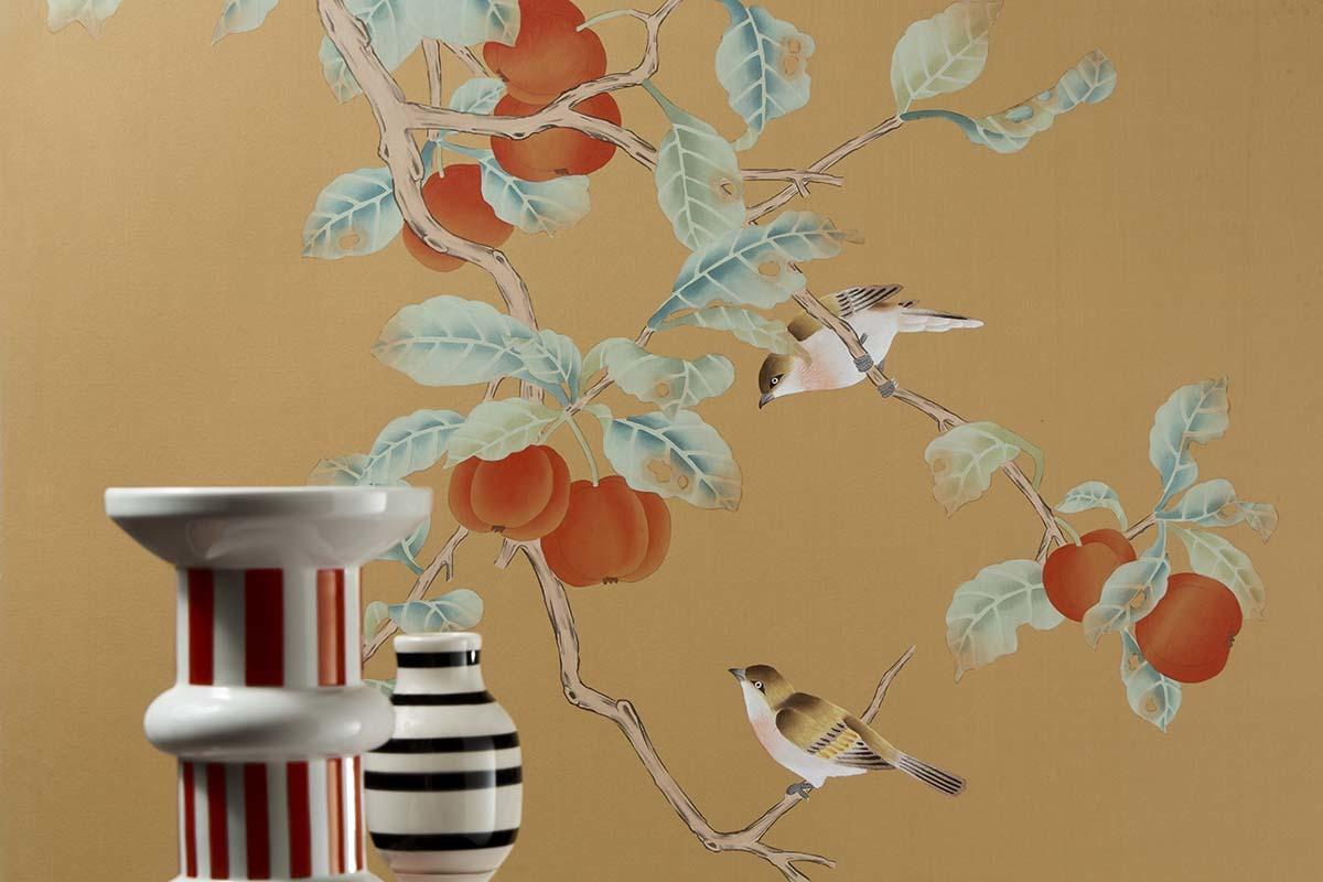 asian design silk wallpaper with red kaki design pattern for livingroom