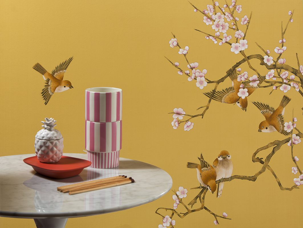 asian design silk wallpaper with sparrows and laden blossoms on gold background
