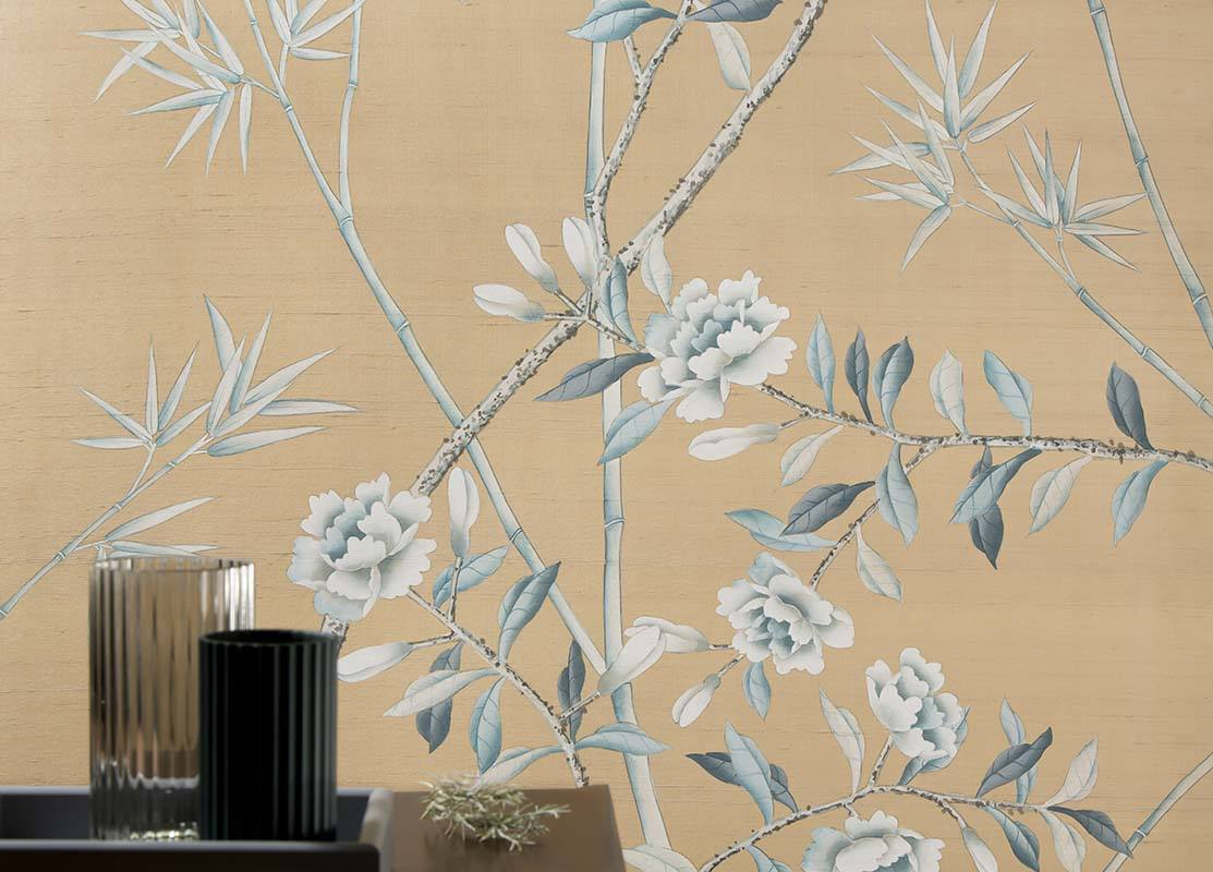 tendrils flowers silk wallcoverings for living room with cream background colour