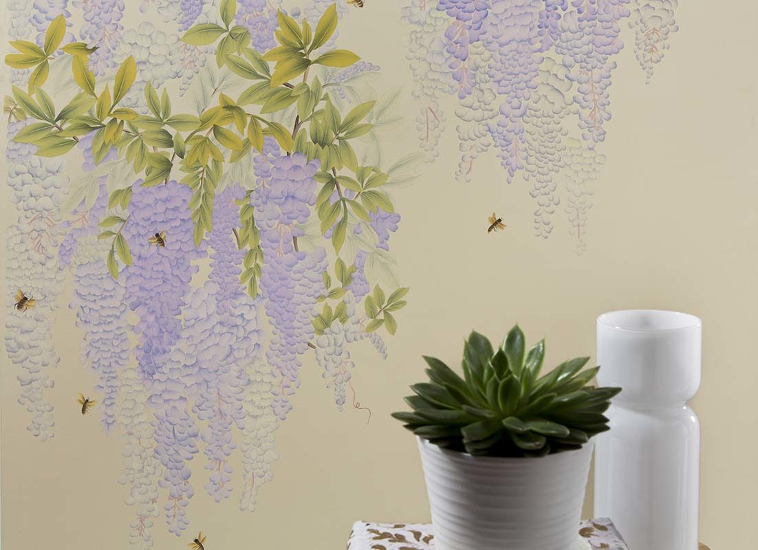 Beautiful wisteria design silk wallpaper for livingroom